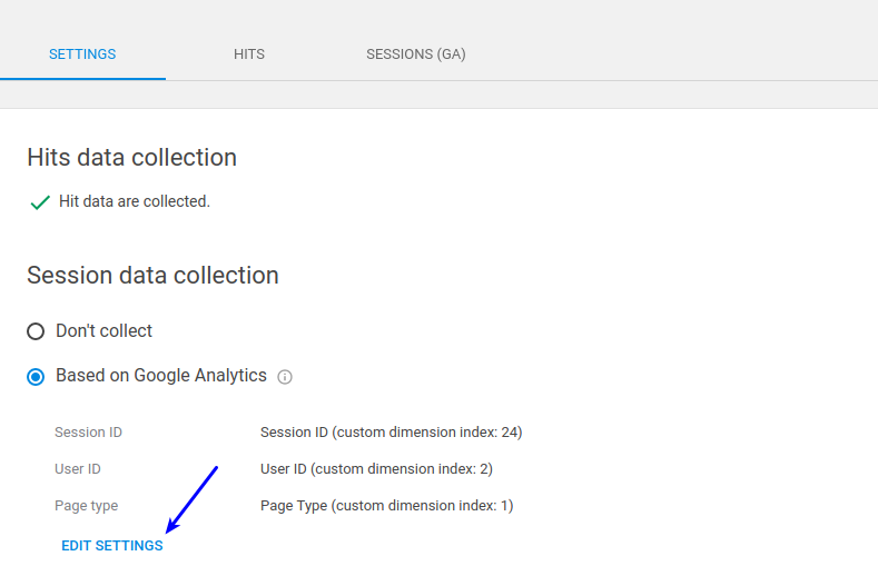 Google analytics settings data collection