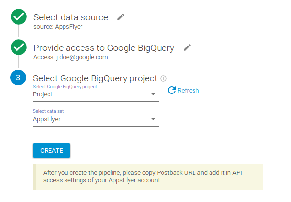AppsFlyer → Google BigQuery: Set up pipeline – OWOX Help Center
