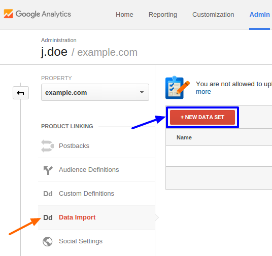 creating a new data set in google analytics